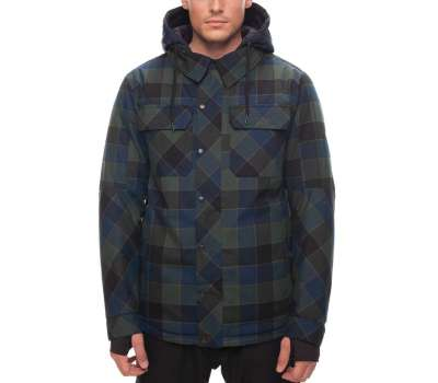 17-18 686 Men's Woodland Insulated Blue Green Plaid